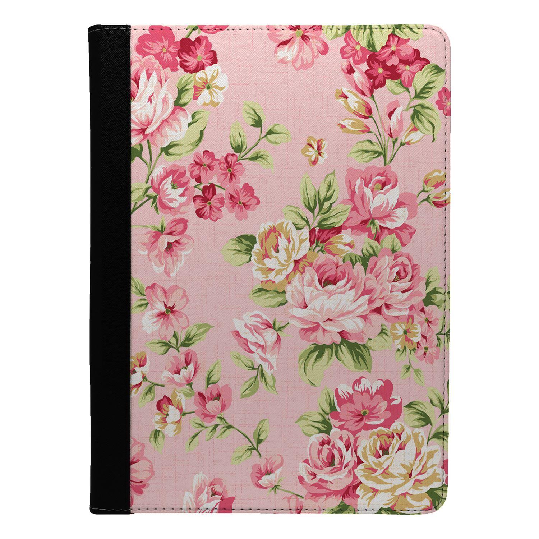 Rosas-Flores-Rosa-Patron-Floral-Funda-Libro-para-Apple-Ipad-S830