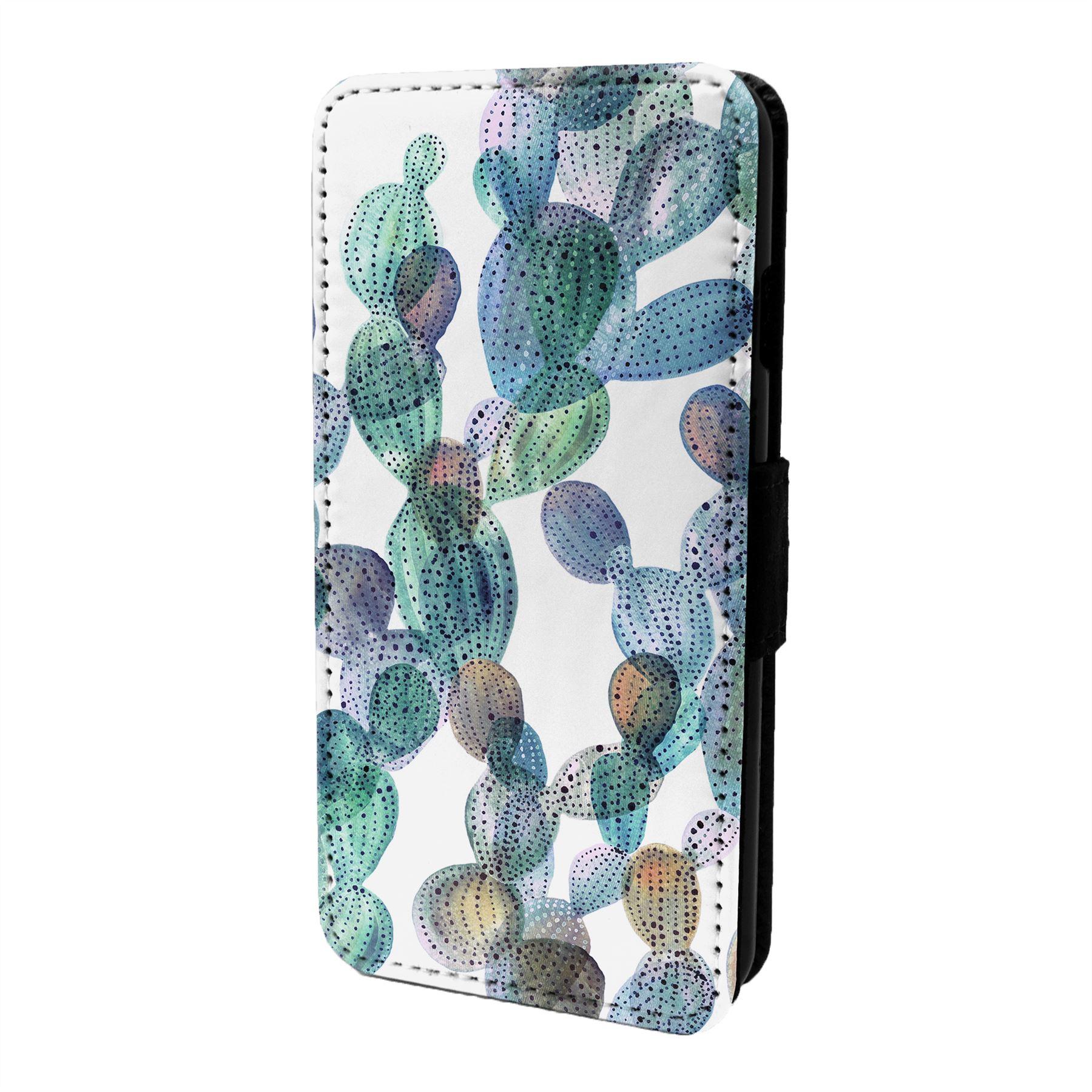 Cactus-Estampado-Funda-Libro-para-Telefono-Movil-S6612