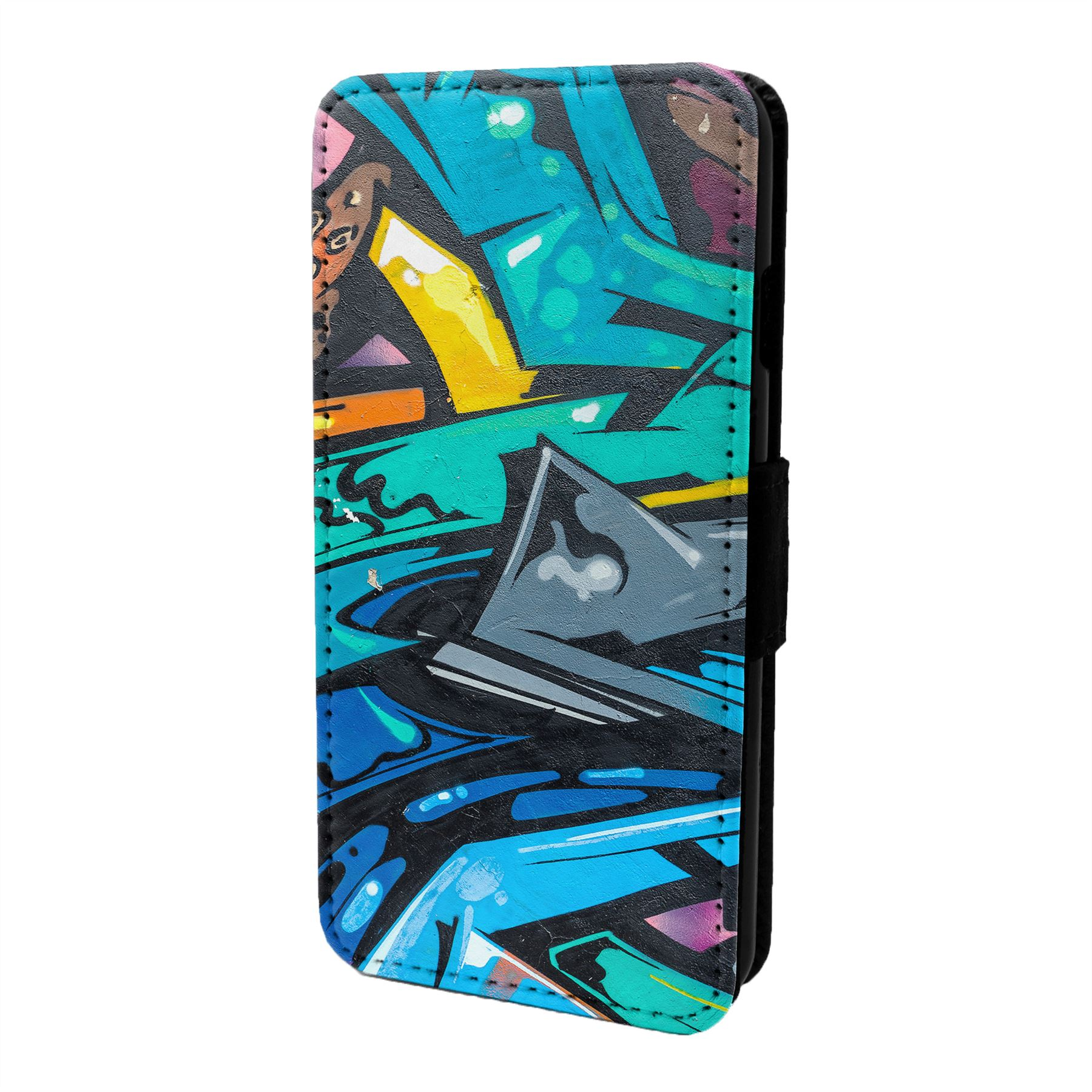 Graffiti-Art-Etui-Rabattable-pour-Telephone-Portable-S6774