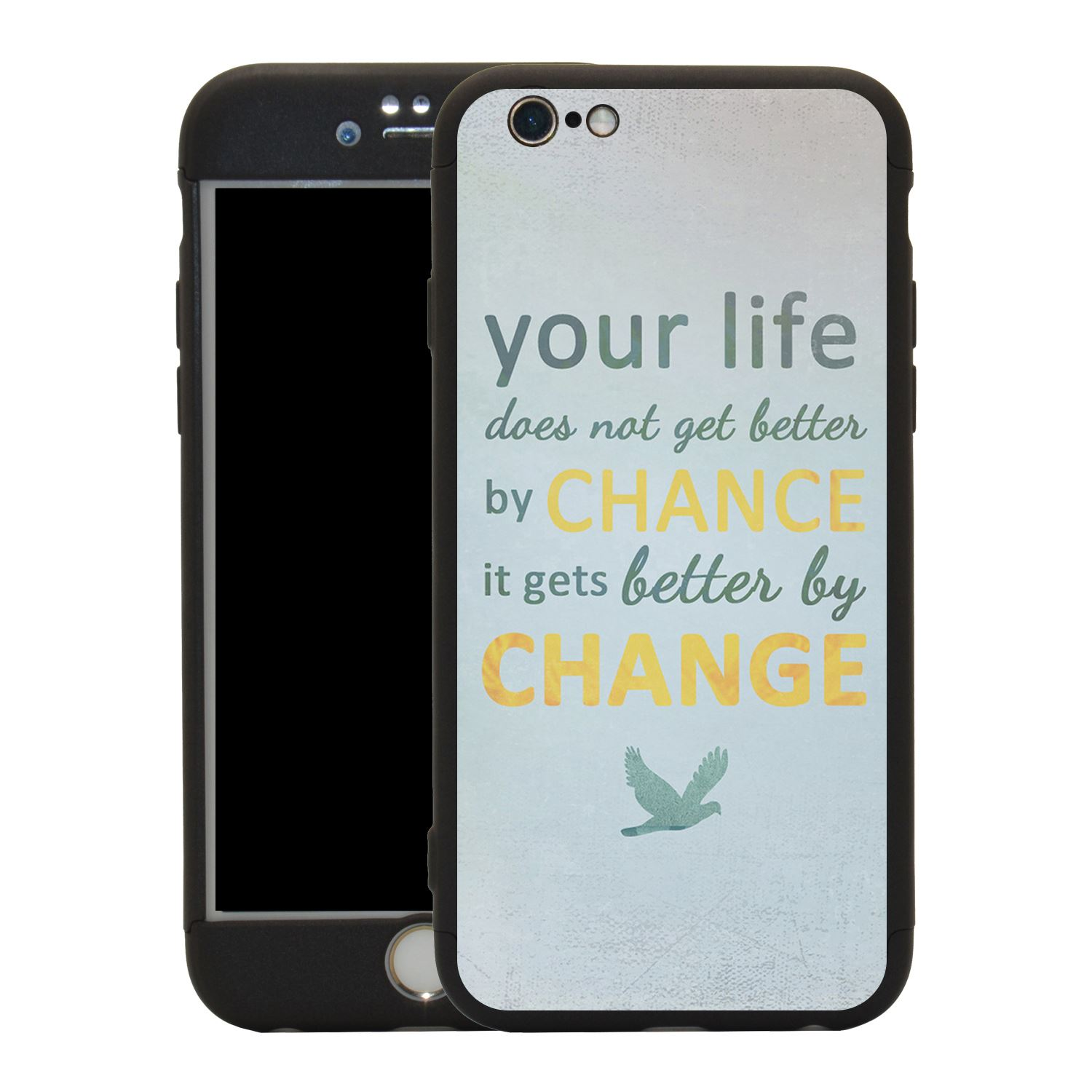 Sayings Quotes Change 360 Case Tempered Glass Cover For Iphone