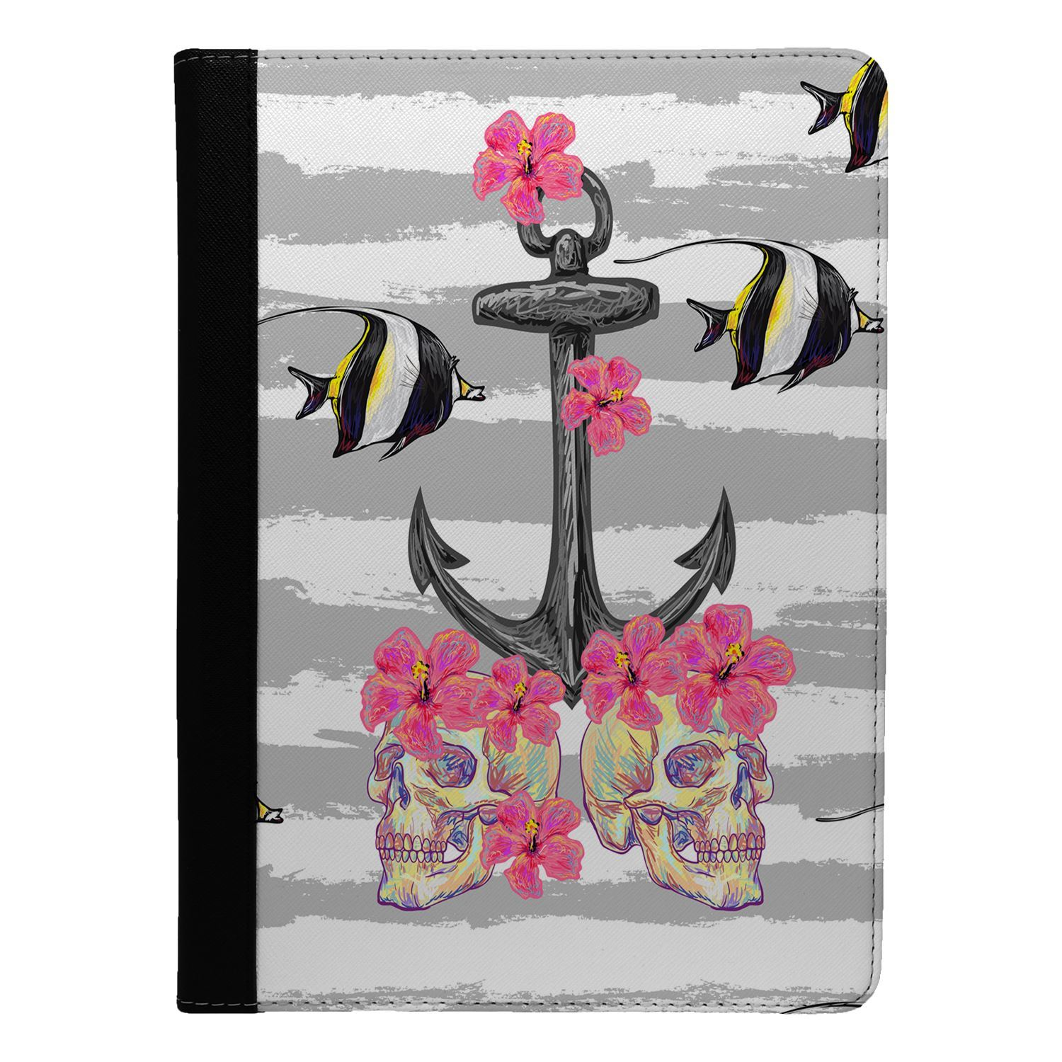 Marine-Life-Fish-Anchor-Stripes-Flip-Case-Cover-For-Apple-iPad-S865