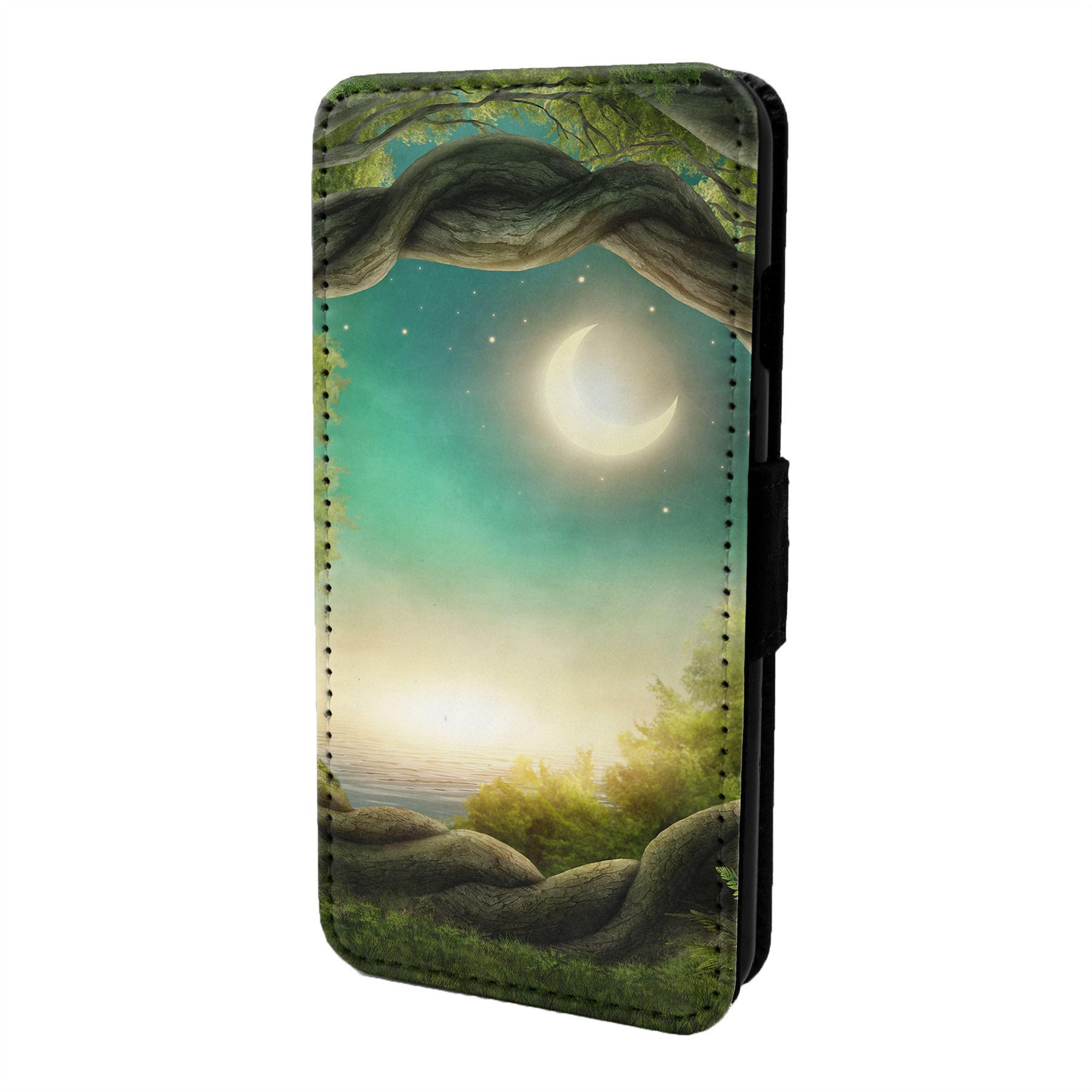 Magico-Paisaje-Estampado-Funda-Libro-para-Telefono-Movil-S6871