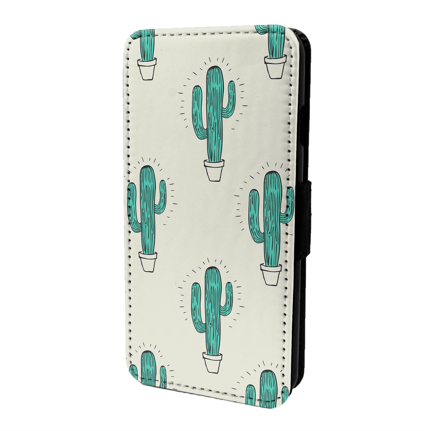 Cactus-Motif-Etui-Rabattable-pour-Telephone-Portable-S6605