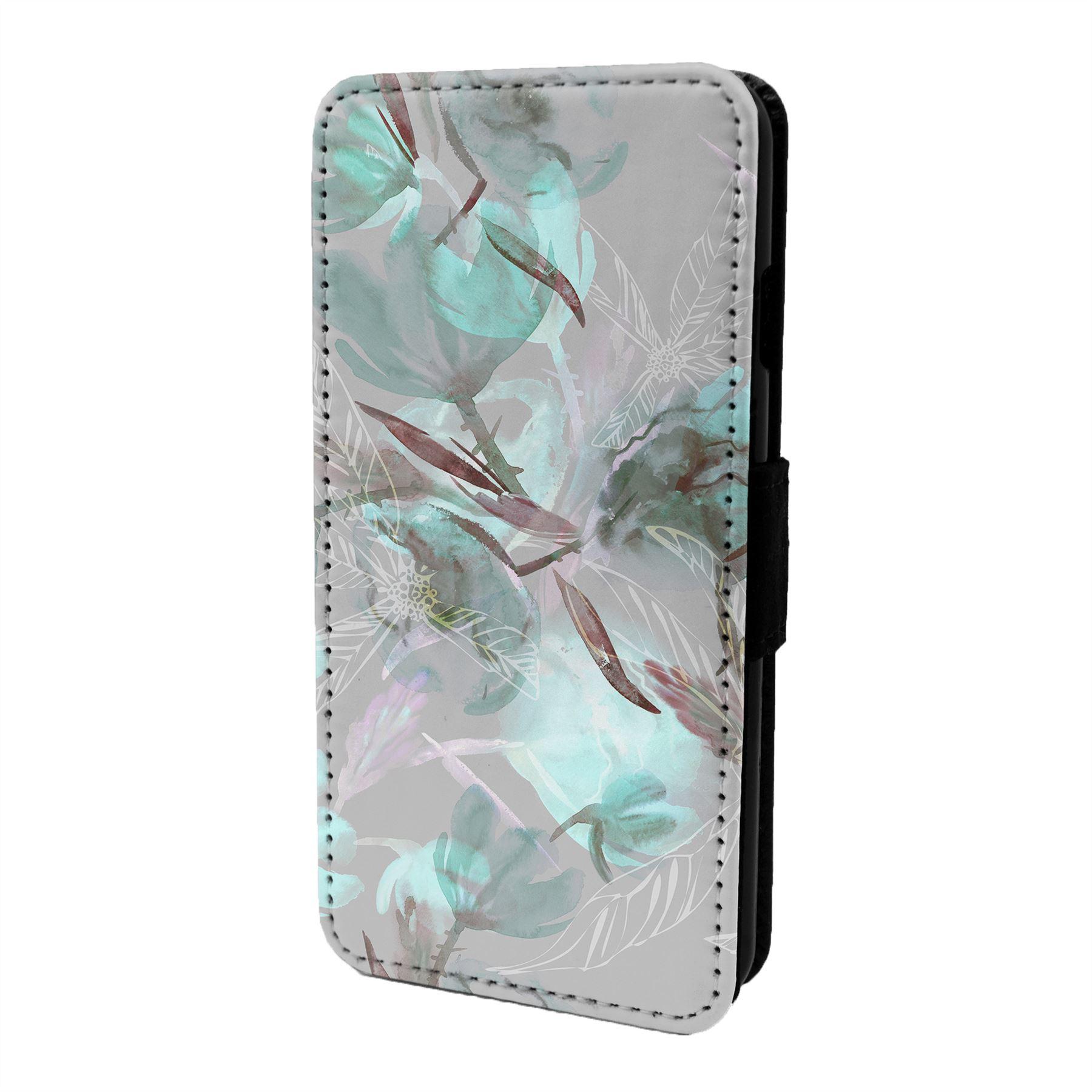 Floral-Flor-Estampa-Funda-Libro-para-Telefono-Movil-S6712