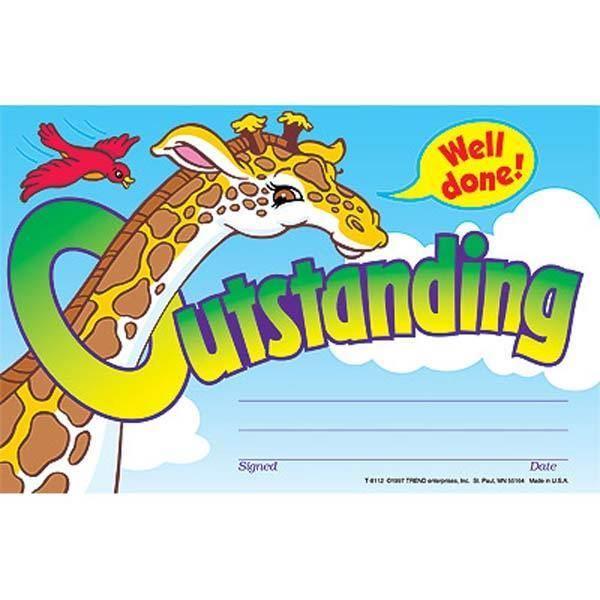 30 Kids Outstanding Giraffe Award Childrens Certificate Pad