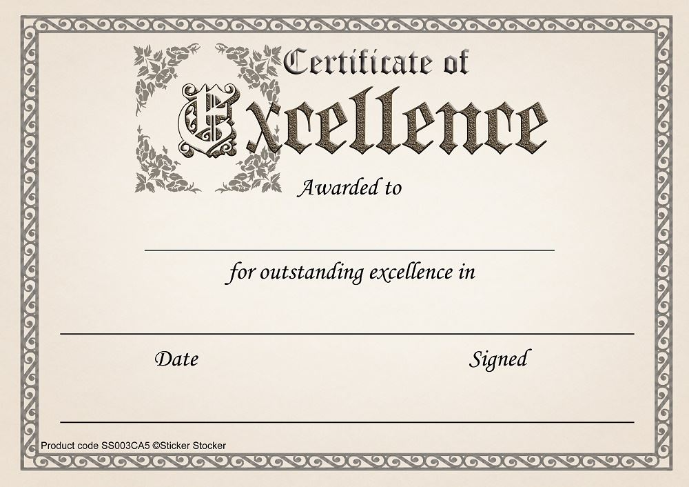 30 certificate of excellence awards for school teachers  a5 silk finish card 5060519531032
