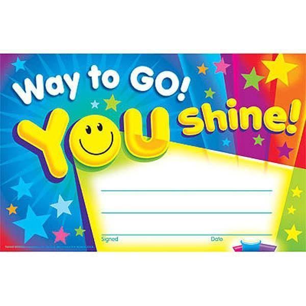 30 Kids Way To Go You Shine Award children\'s certificate Pad ...