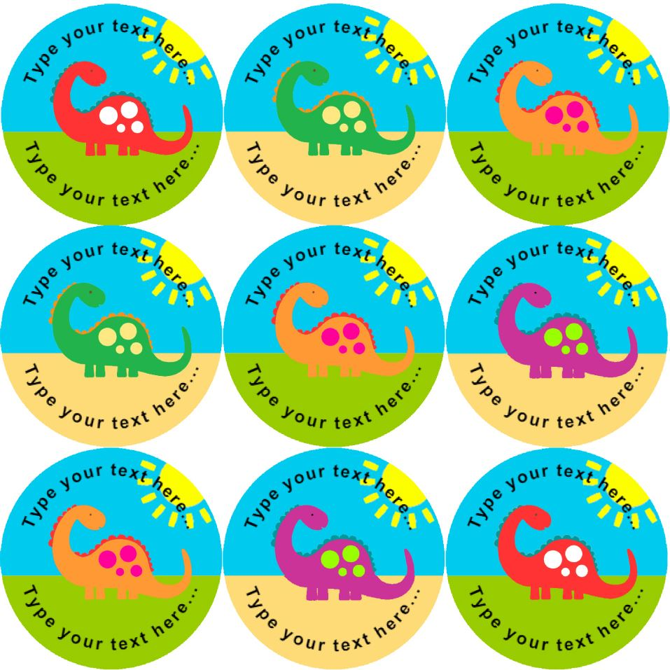 144 colourful dinosaurs personalised 30 mm reward stickers school teachers