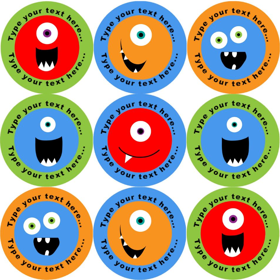 144 monster smiles personalised 30 mm reward stickers school teachers nursery