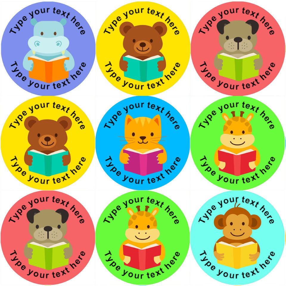 144 personalised reading animals 30mm reward stickers ideal for school teachers