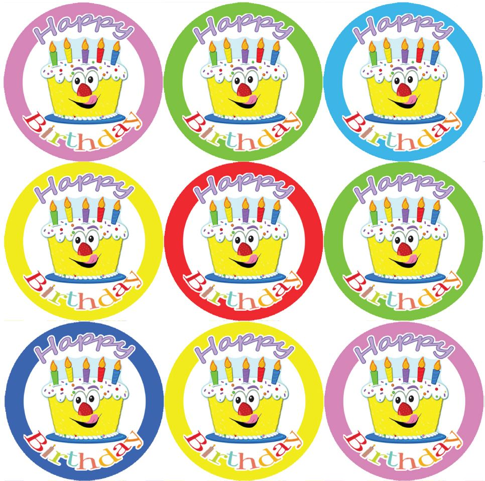 144 happy birthday cake themed reward stickers teachers parents size 30 mm