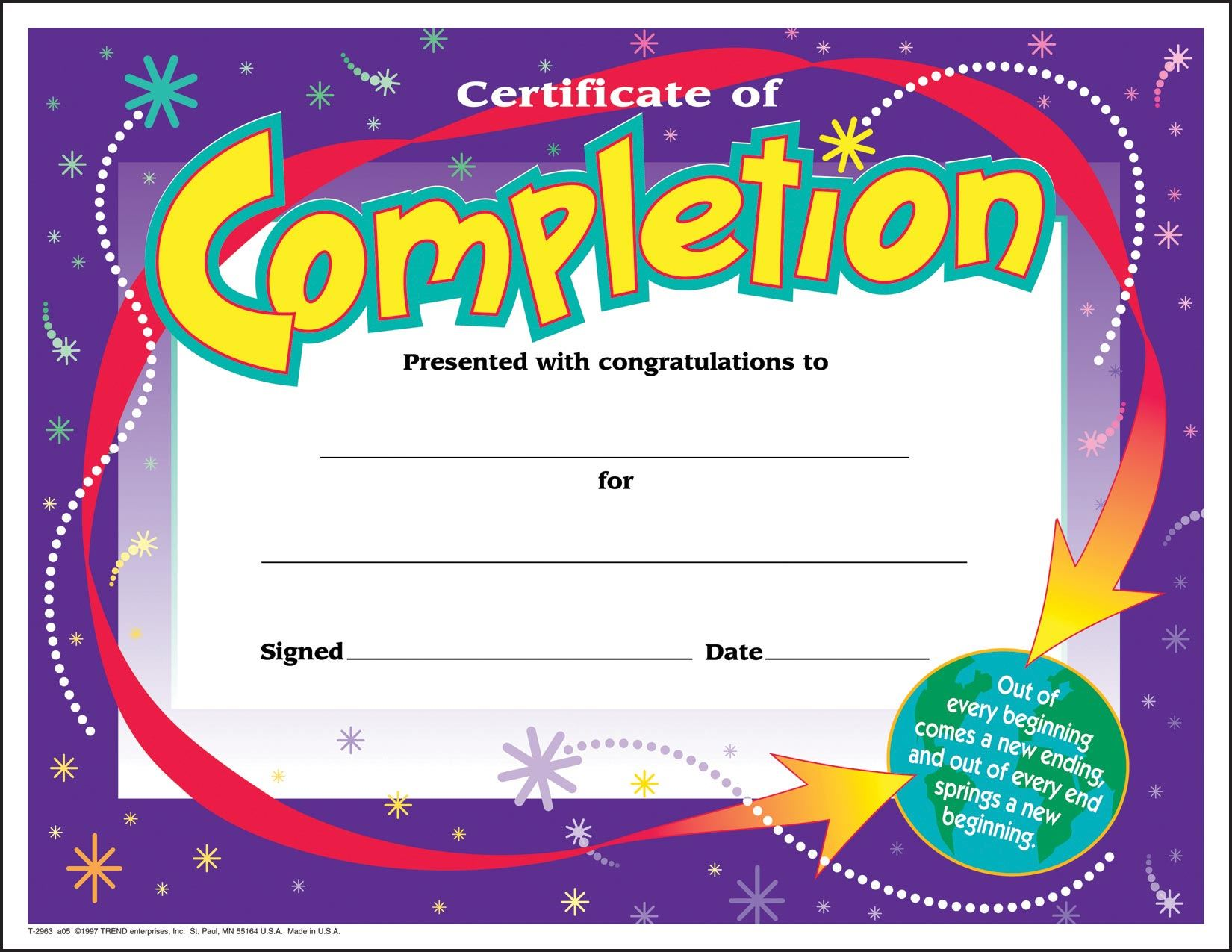 30 Certificates Of Completion Large Certificate Award Pack By