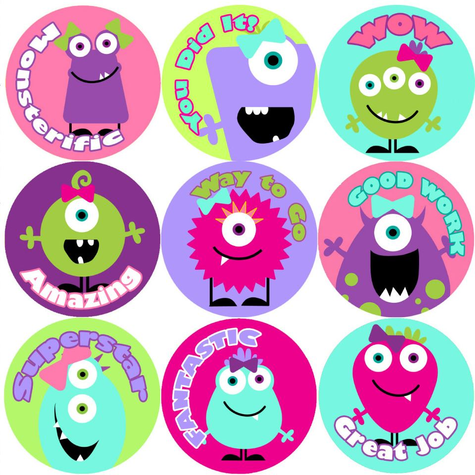 144 girly monsters praise words reward stickers 30mm teachers girls party bags