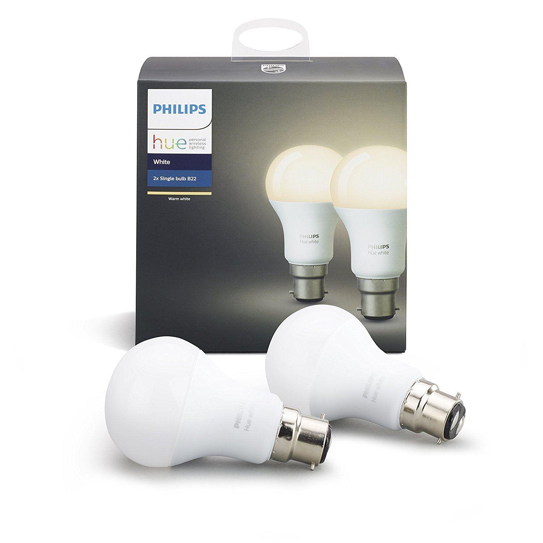 Philips-Hue-2x-9W-LED-B22-White-Bulbs-Bridge-v2-Apple-Home-Kit-amp-Alexa-Enabled