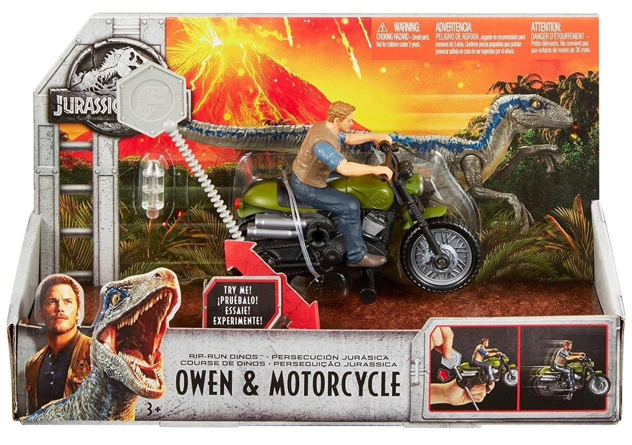 Jurassic World Rip-Run Dinos Velociraptor Azul//Stygimoloch//Owen Motocicleta