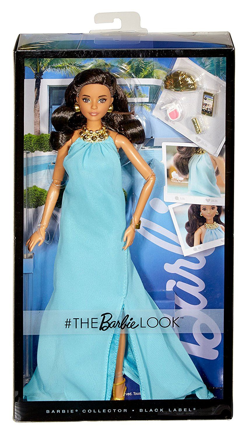 Barbie Look Collector Black Label Doll Blue Dress Flowerswhite