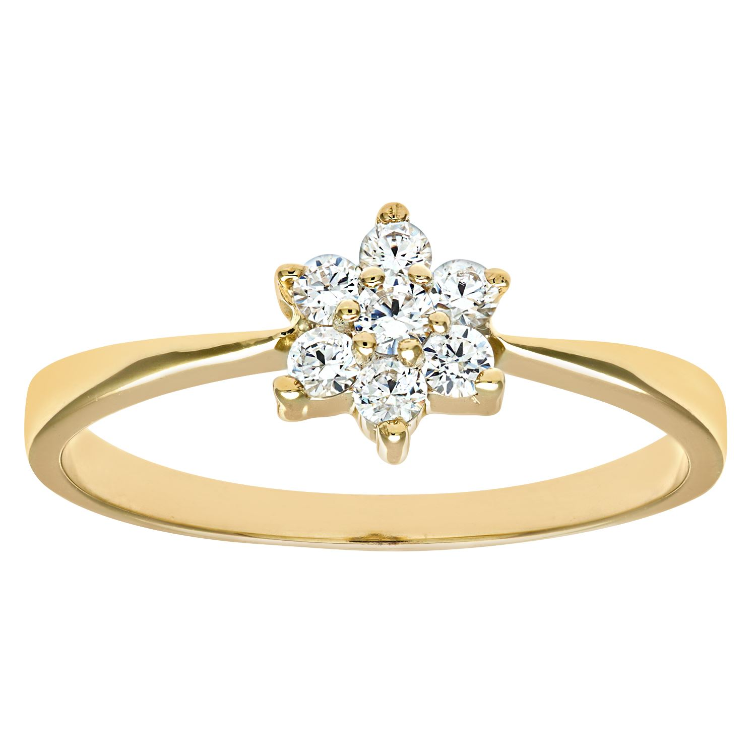 Revoni Ladies 9ct Yellow Gold Cubic Zirconia Stone Set Daisy Cluster Ring 1.4g