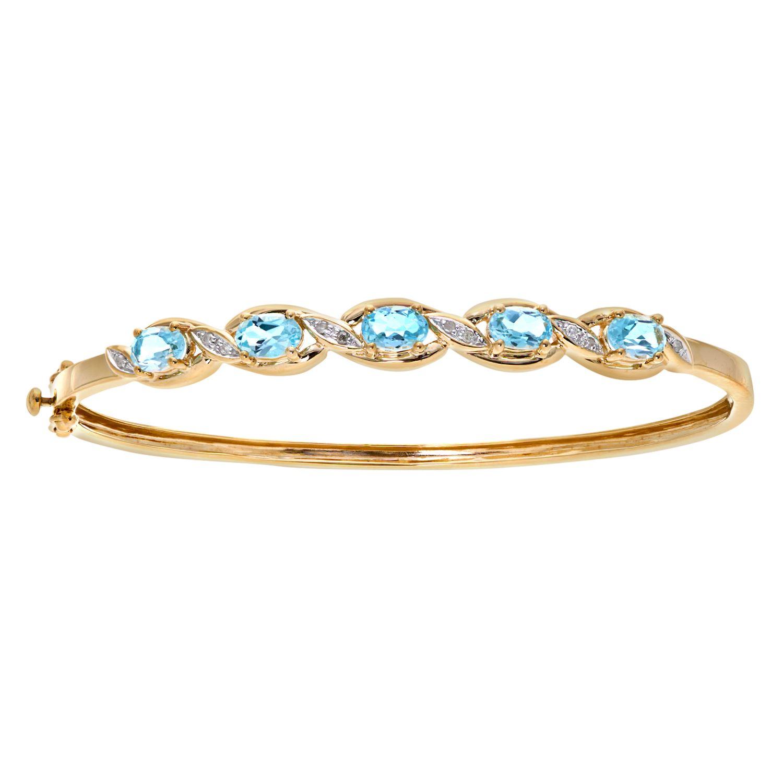 Revoni - 9ct White Gold Blue Topaz and Diamond Bracelet v7rR8v