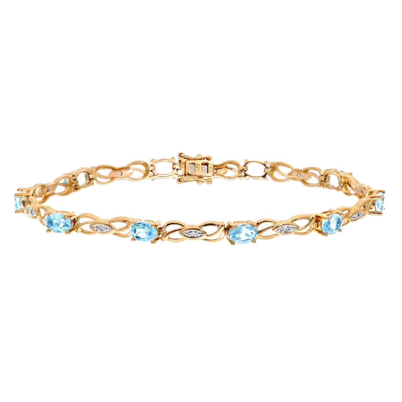 Revoni - 9ct White Gold Blue Topaz and Diamond Bracelet Aa1Zg0Xl