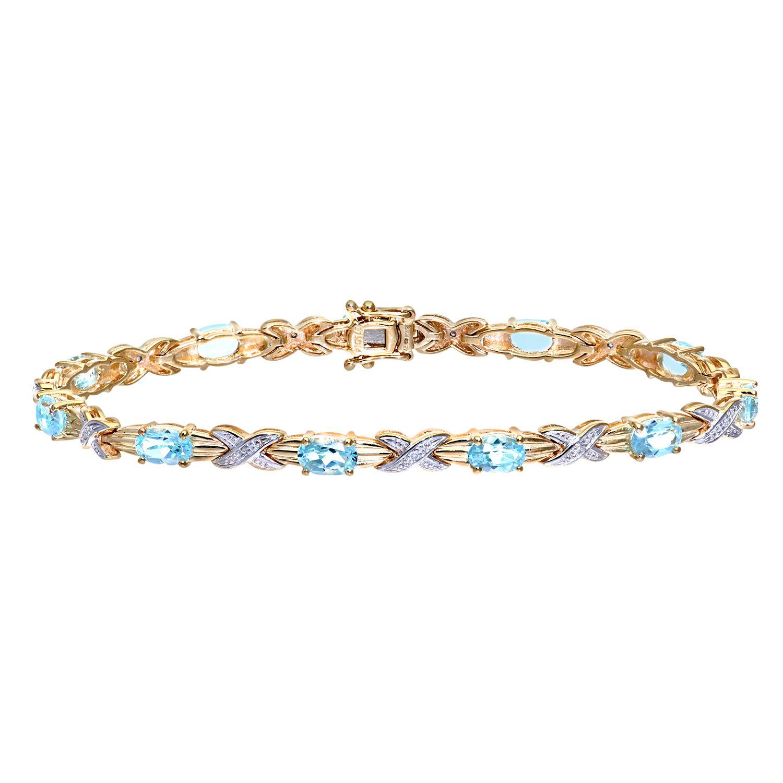 Revoni 9ct White Gold Blue Topaz and Diamond Wave Link Bracelet yP1hx