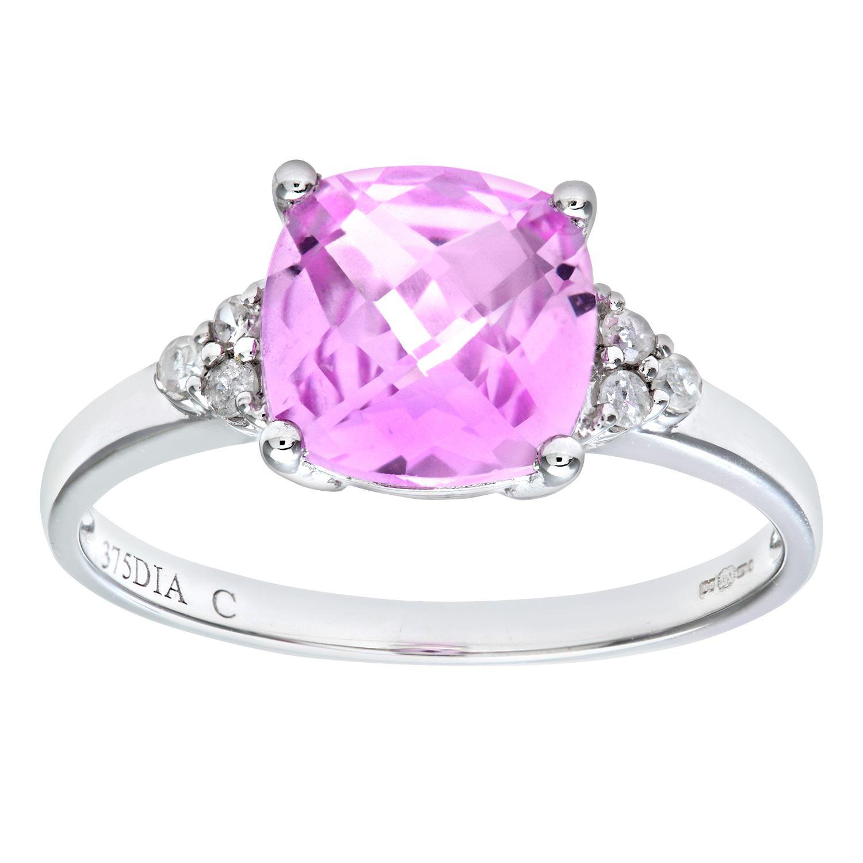 Revoni Pink Sapphire & Diamond Ring Solid 9ct White Gold | eBay