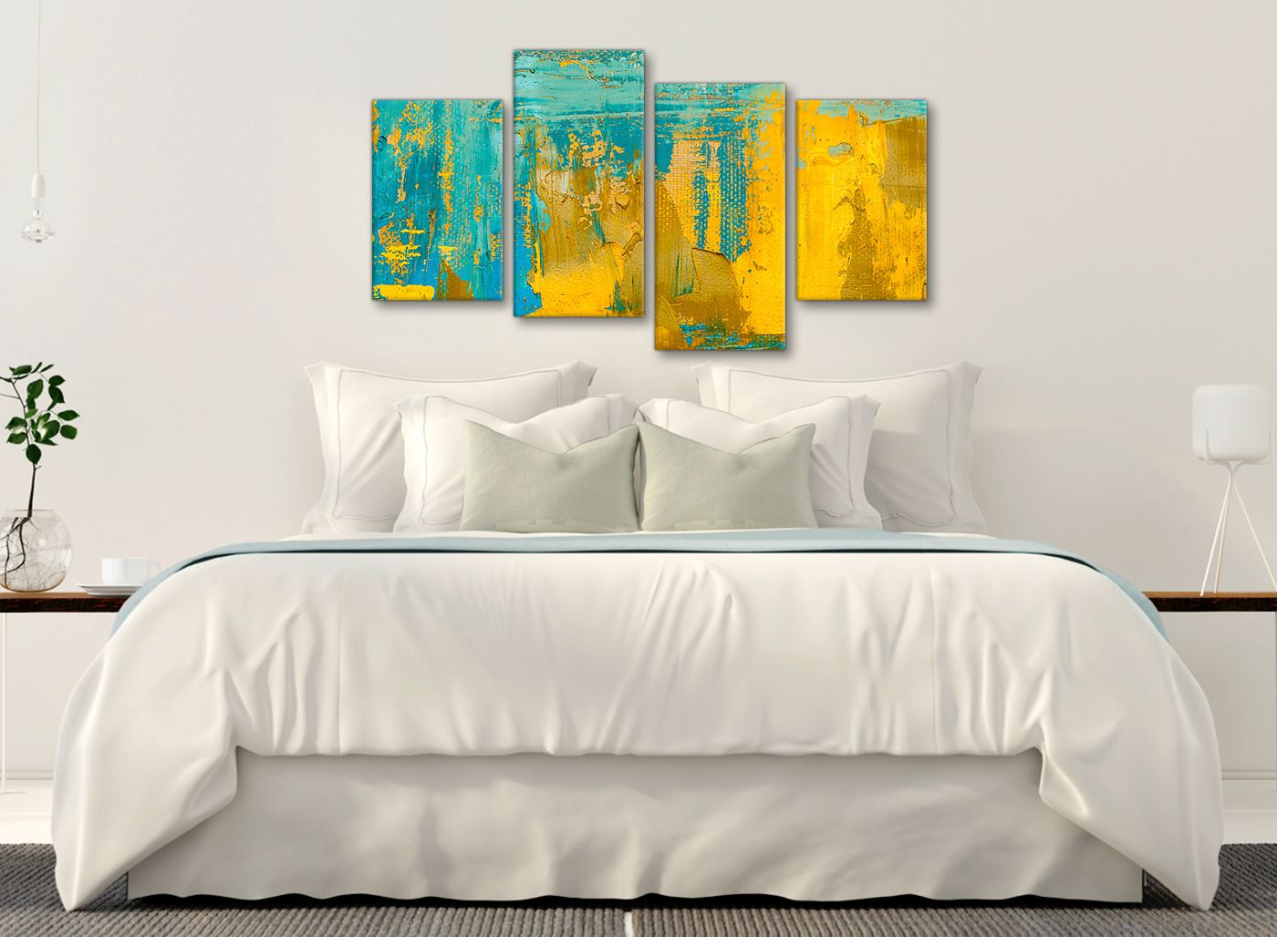 Details about Mustard Yellow and Teal Turquoise - Abstract Dining Room  Canvas Wall Art Decor