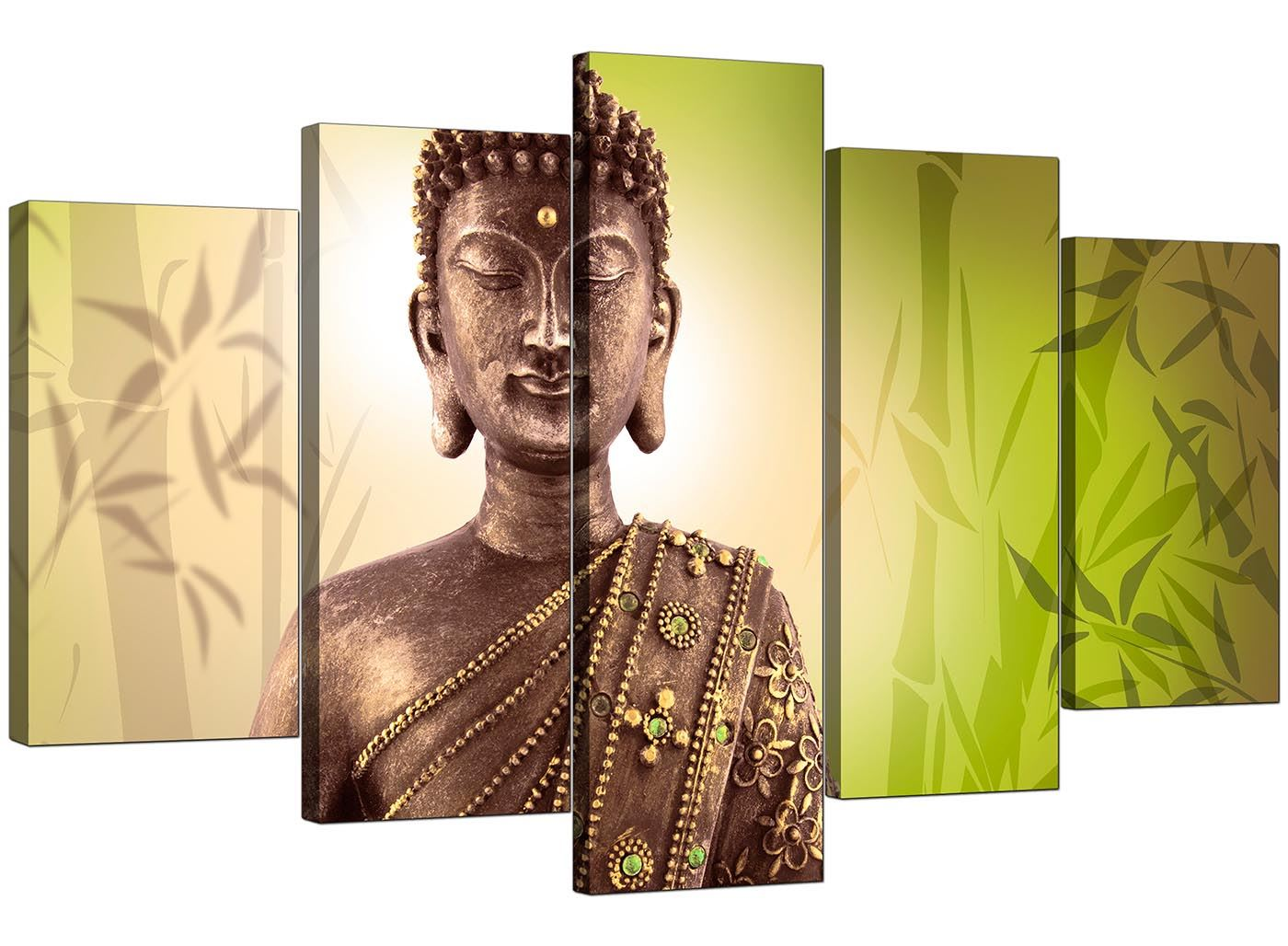 Details about 5 part buddha canvas pictures lime green wall art bedroom prints 5100