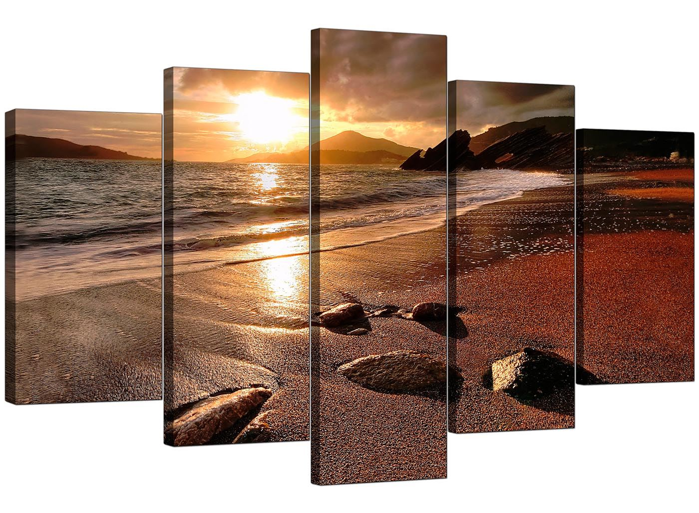 Sunset Beach Love Art Picture Sepia Cream Landscape Canvas Wall Print 112cm