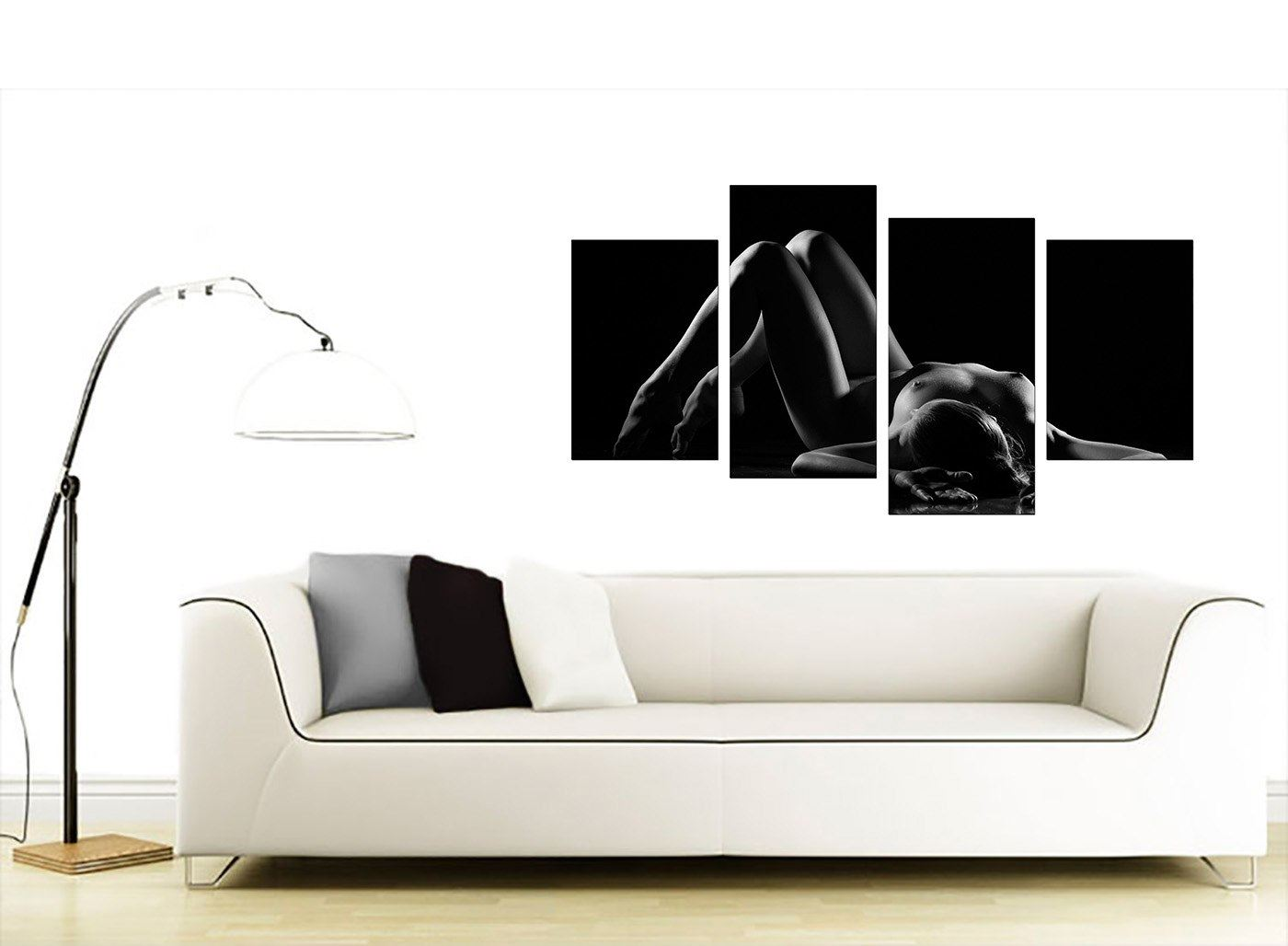 Black White Erotic Bedroom Canvas Wall Art Pictures Xl Set