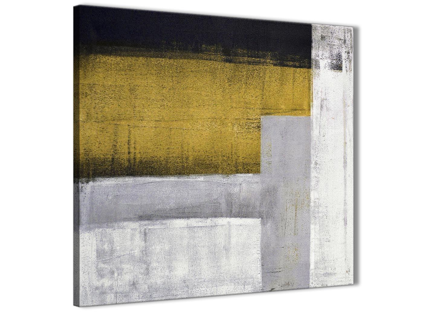 Mustard Yellow Grey Painting Bathroom Canvas Wall Art Abstract 1s425s 49cm 5056170006071 Ebay