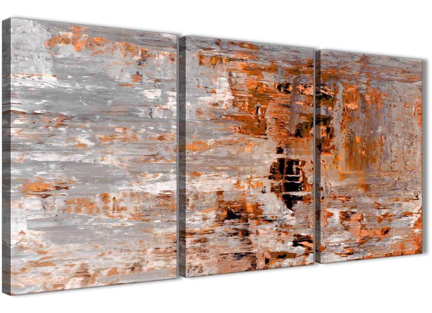 3 Panel Burnt Orange Grey Painting Office Canvas Art Abstract 3415-126cm