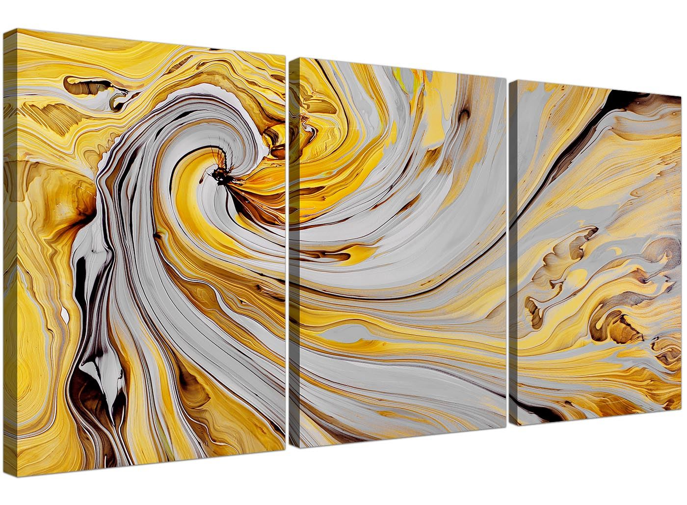 mustard yellow and grey spiral swirl abstract canvas multi 3 piece