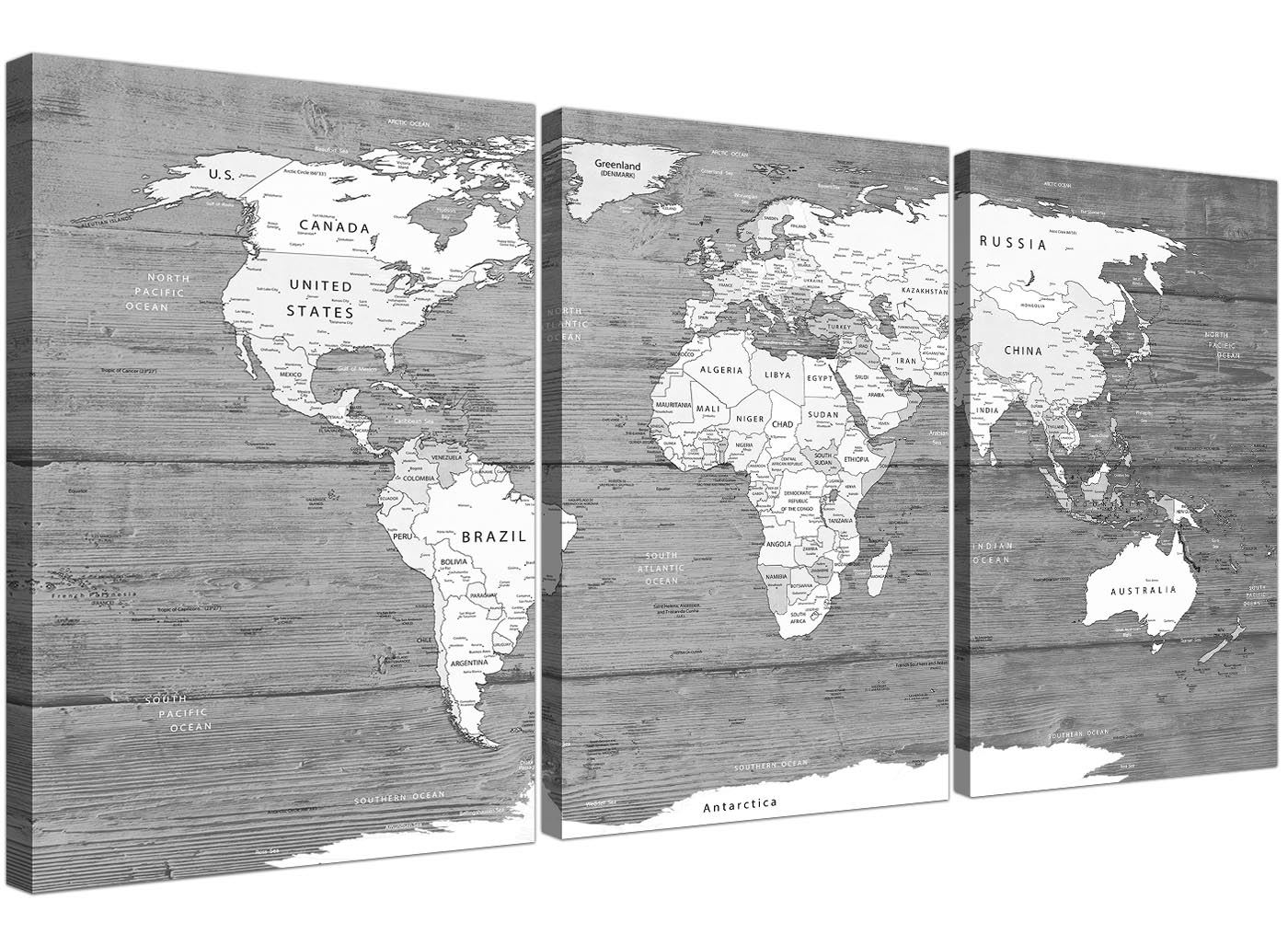 Large black white map of world atlas canvas wall art print split 3 buy now for just 4499 and add colour style to you home today gumiabroncs Image collections