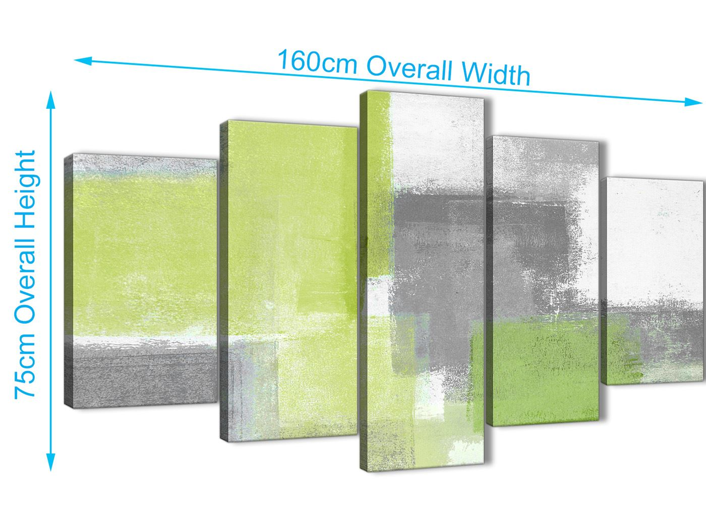Details About 5 Piece Lime Green Grey Abstract Office Canvas Wall Art Decor 5369 160cm