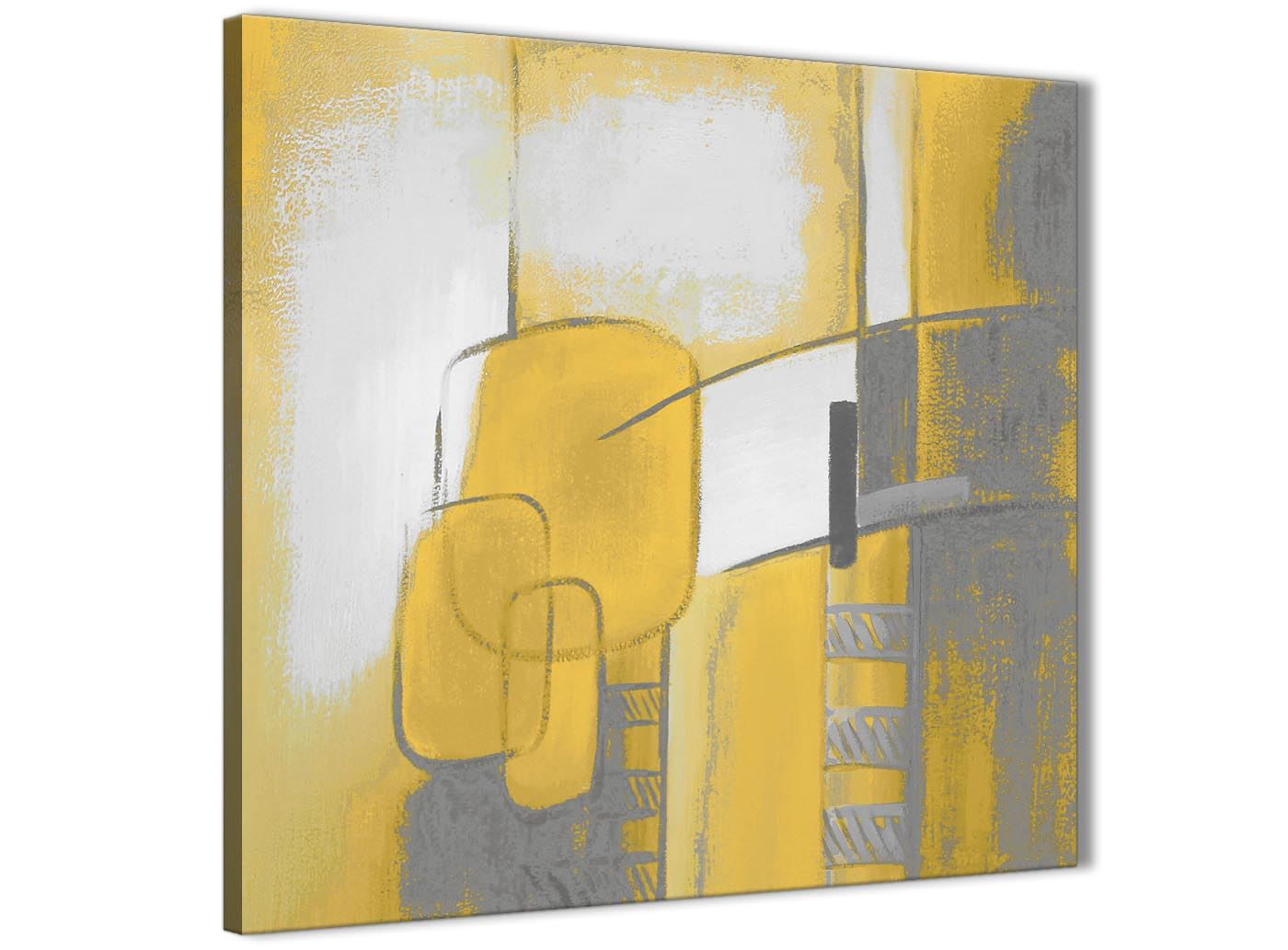 Mustard Yellow Grey Painting Kitchen Canvas Wall Art Abstract
