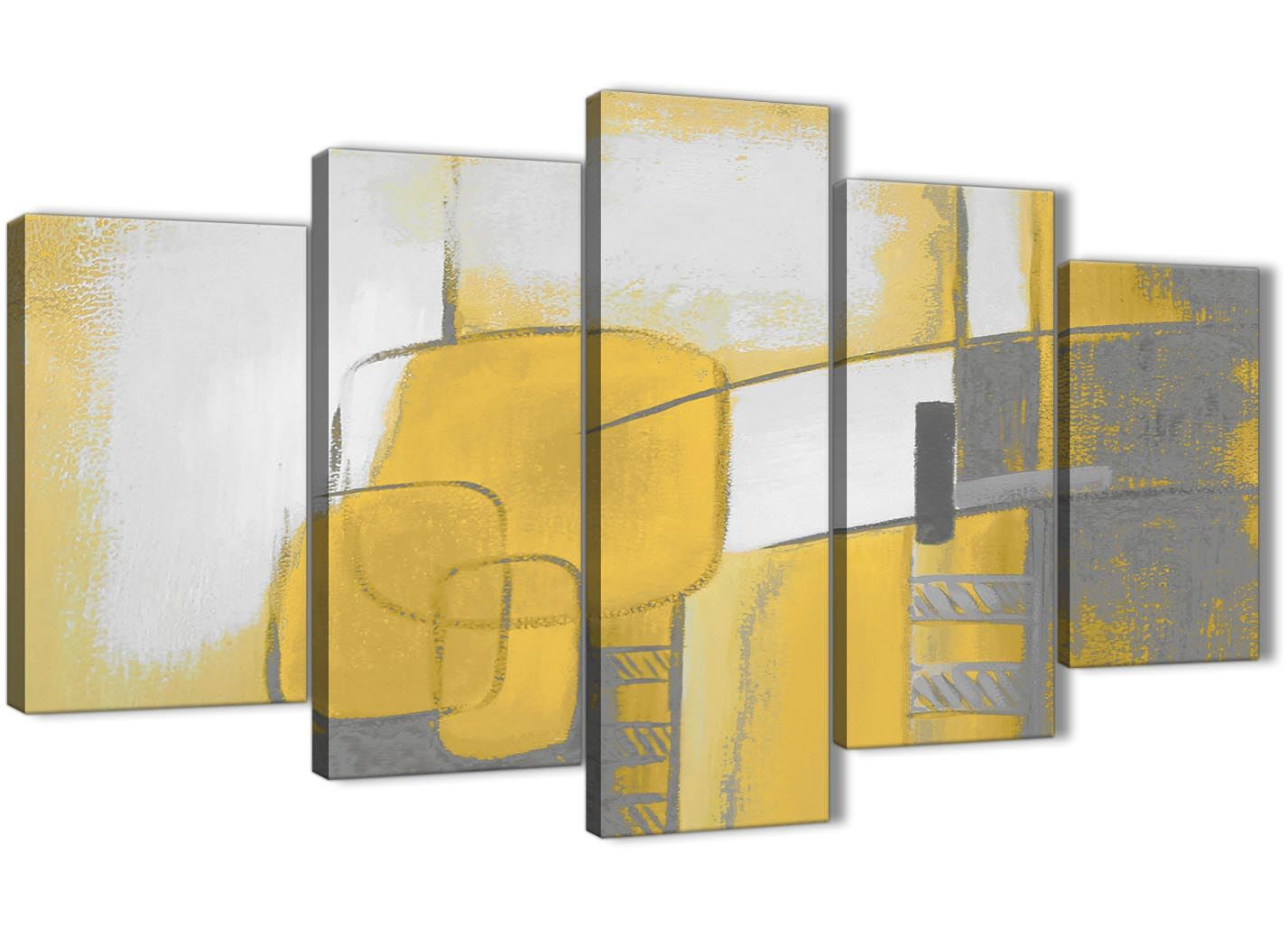 5 Panel Mustard Yellow Grey Painting Abstract Bedroom Canvas Art ...