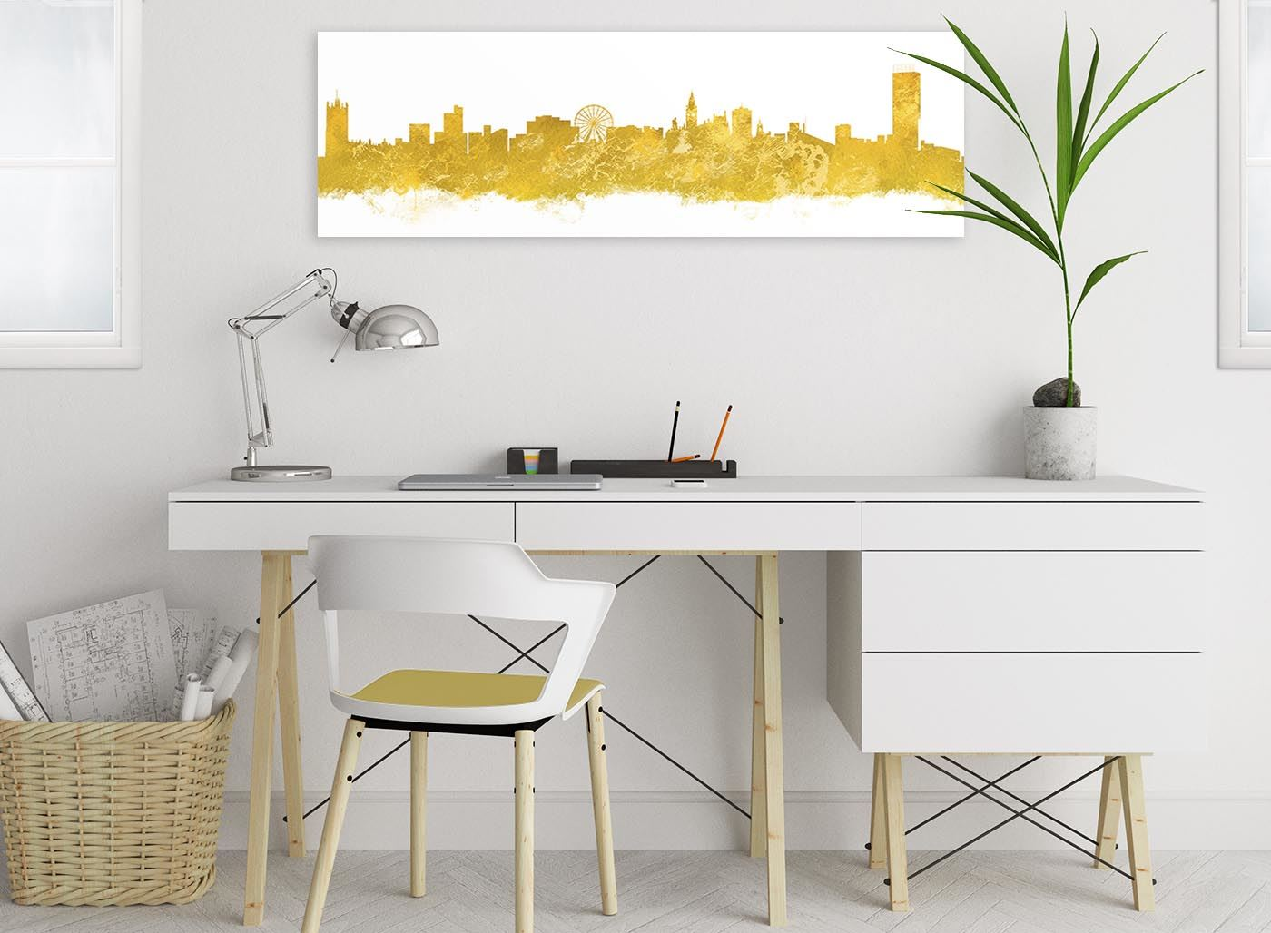 94cm wide Manchester Skyline Canvas Wall Art Print 17 Colours Available