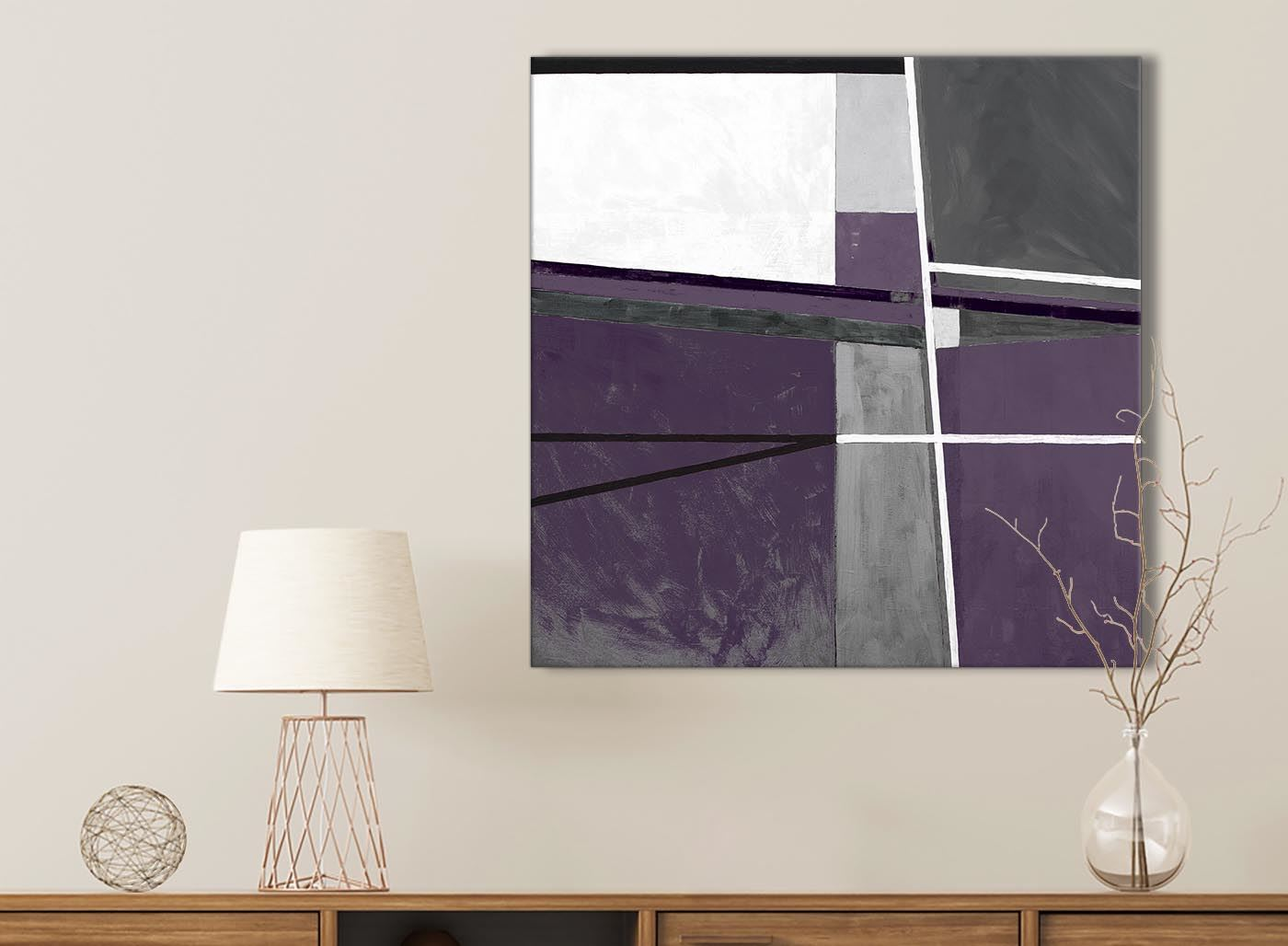 49cm Aubergine Grey White Painting Bathroom Canvas Wall Art Abstract 1s406s