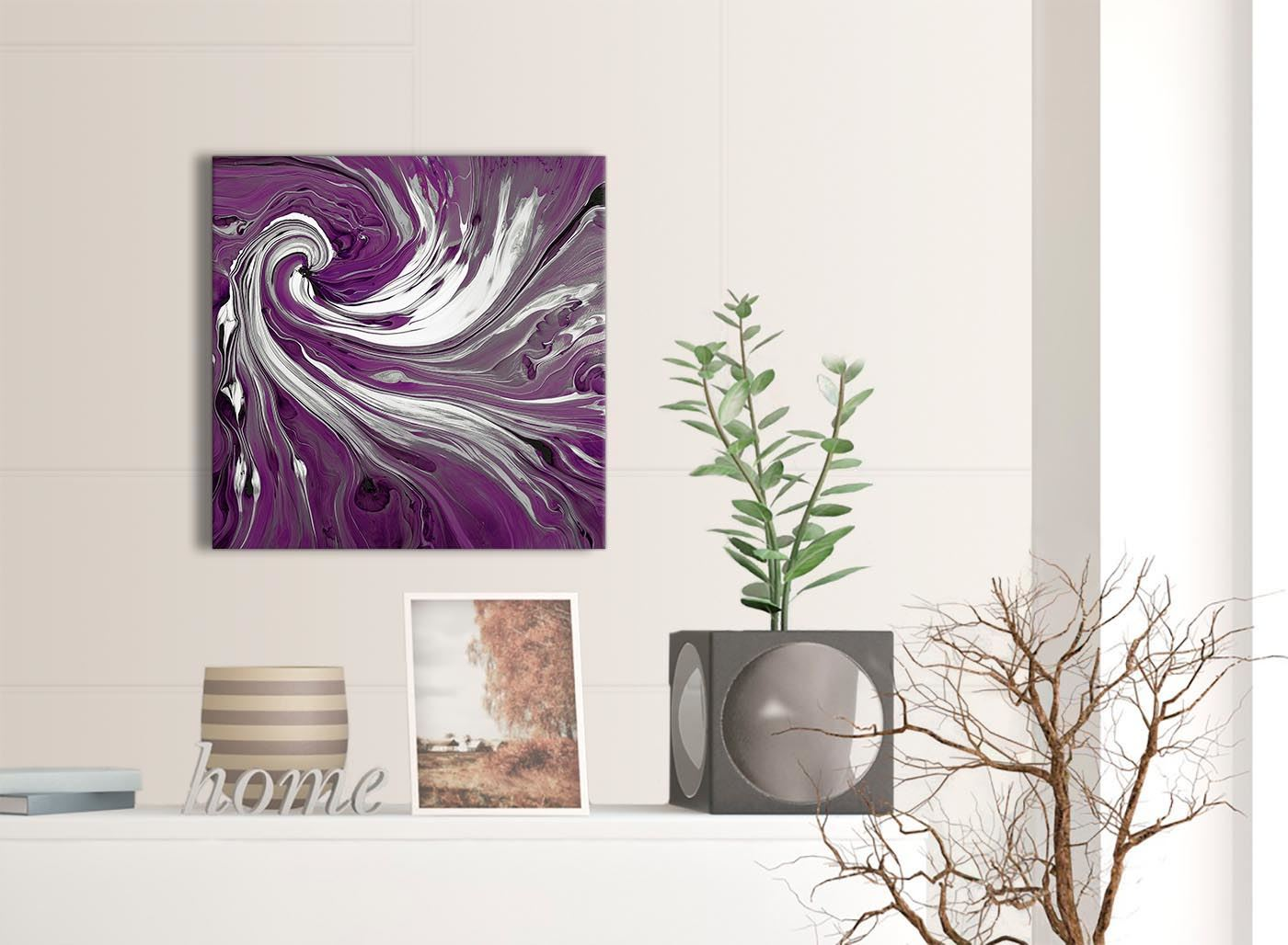 49cm Square Purple White Swirls Modern Abstract Canvas Wall Art 1s353s