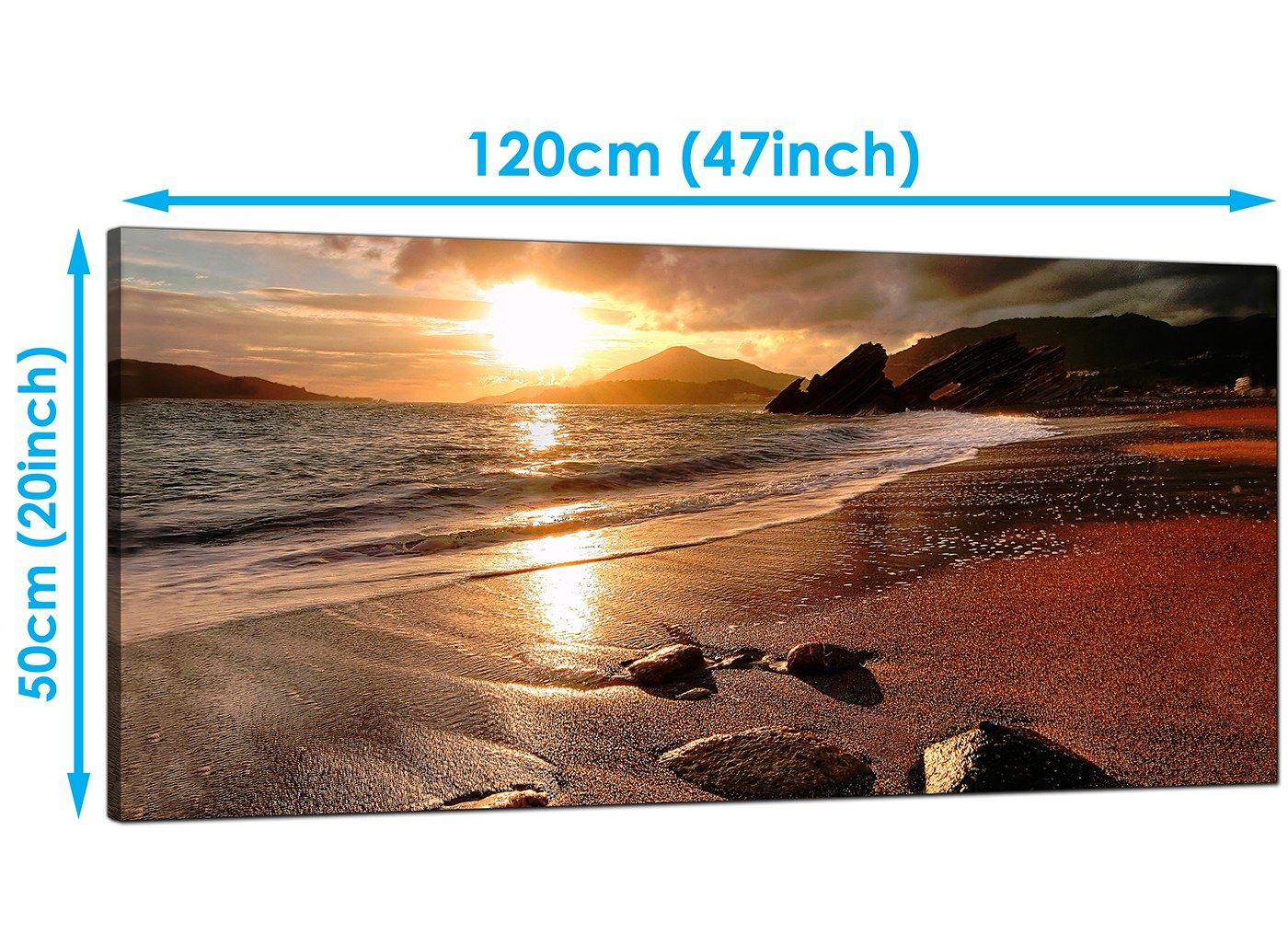Panoramic Landscape Beach Sunset 5198-160cm 5 Part Canvas Pictures