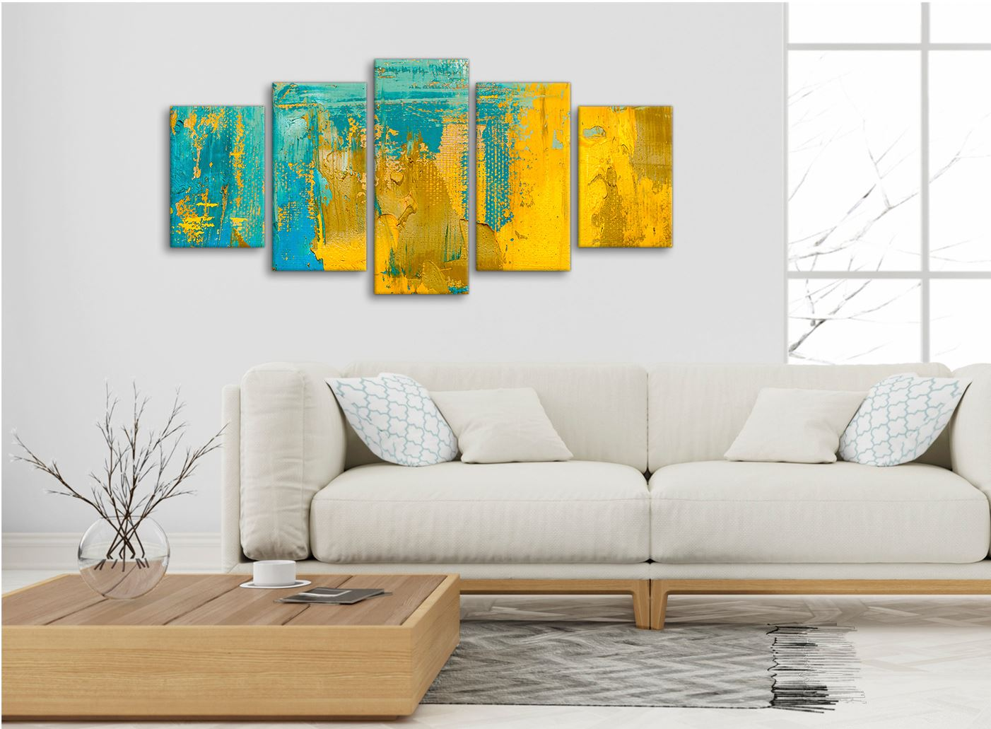 Mustard Yellow And Teal Turquoise Abstract Dining Room Canvas Wall Art Decor Ebay