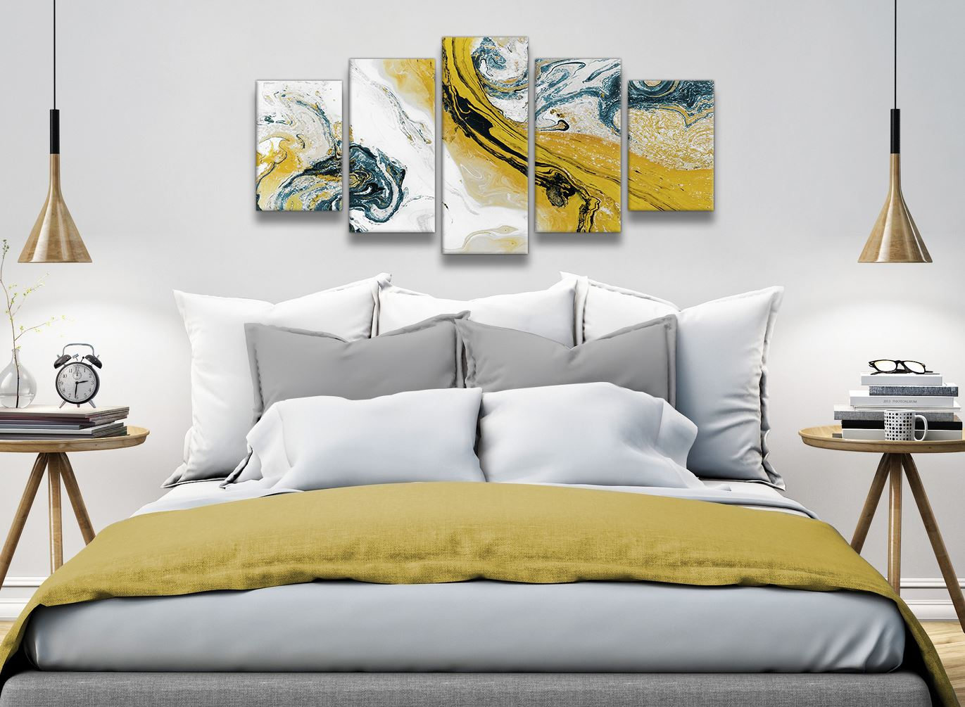 Mustard Yellow And Teal Swirl Bedroom Canvas Pictures Abstract Print Ebay