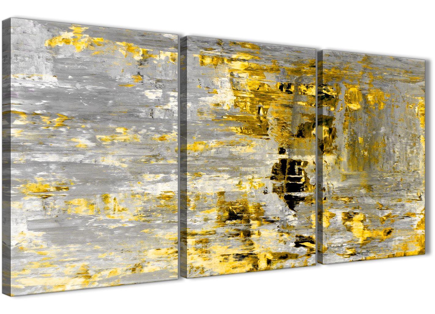 Yellow Abstract Painting Art Print Canvas - Split 3 Piece - 125cm ...