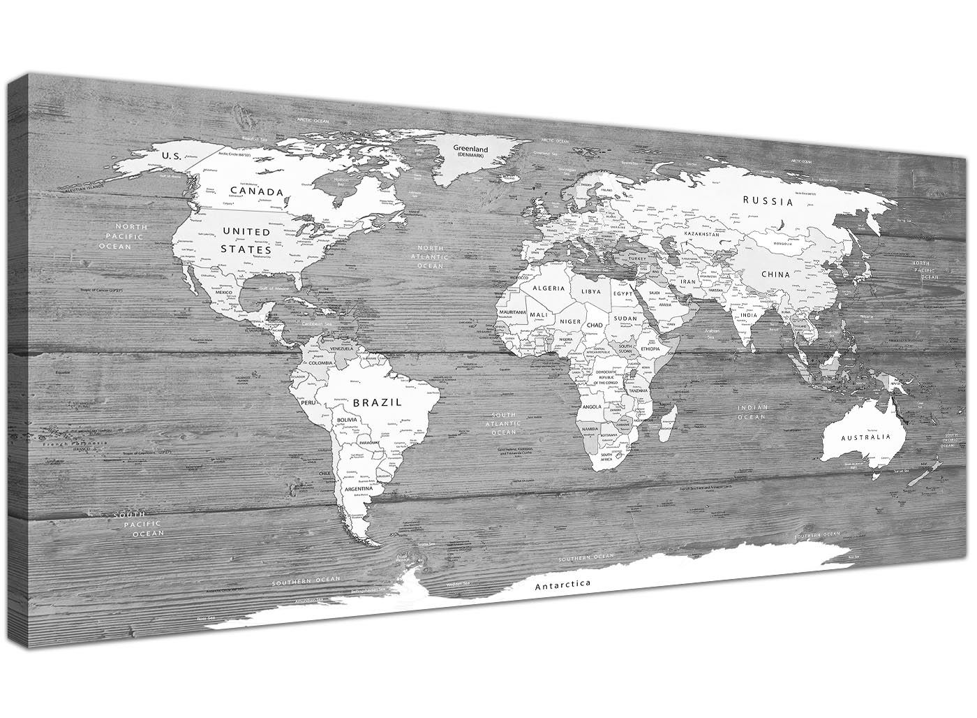 Large Black White Map Of World Atlas Canvas Wall Art Print 120cm