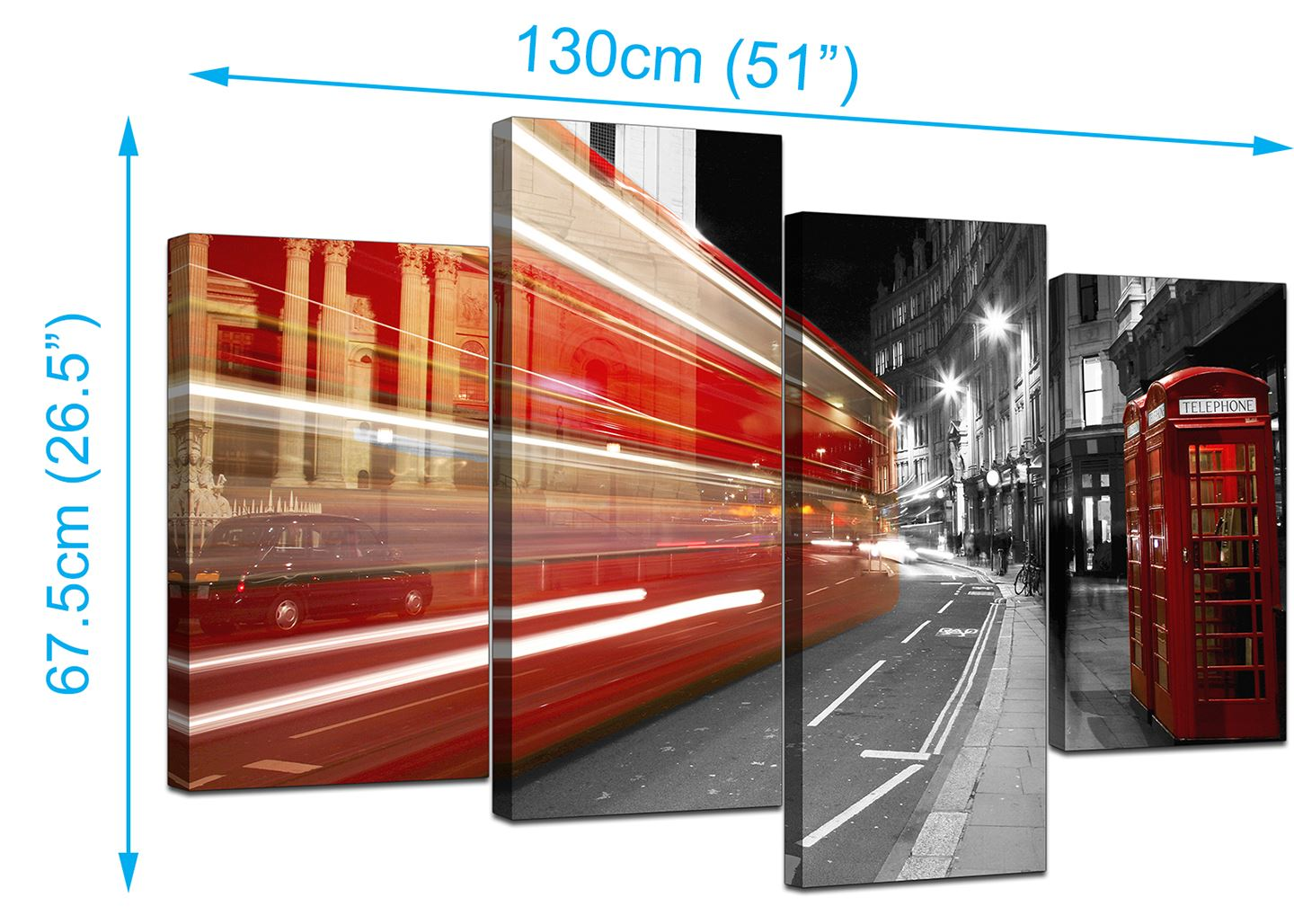 London Street Red Bus Phone Boxes Picture Print On Framed Canvas Wall Art Decor