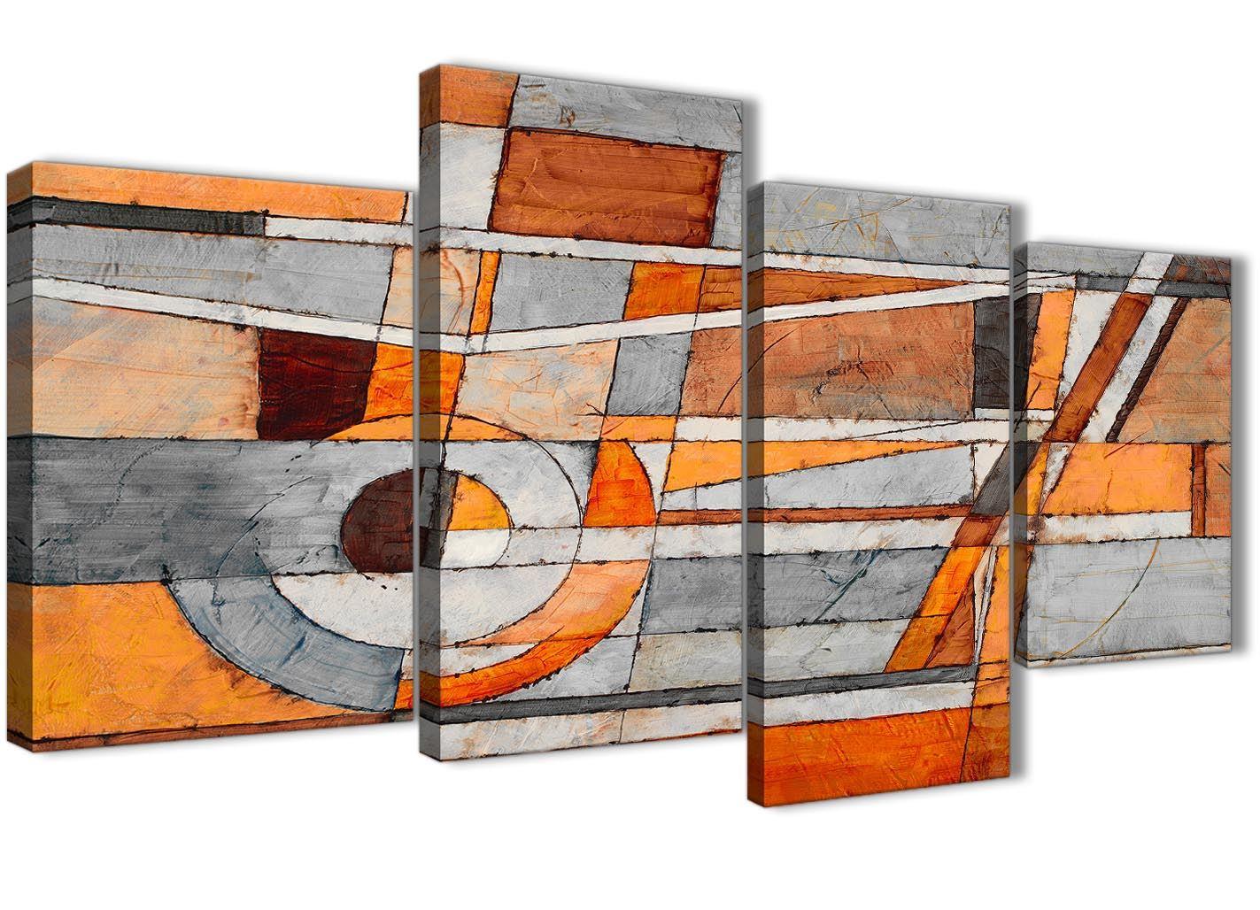 Burnt Orange Grey Painting Bedroom Canvas Accessories Abstract 1405-120cm