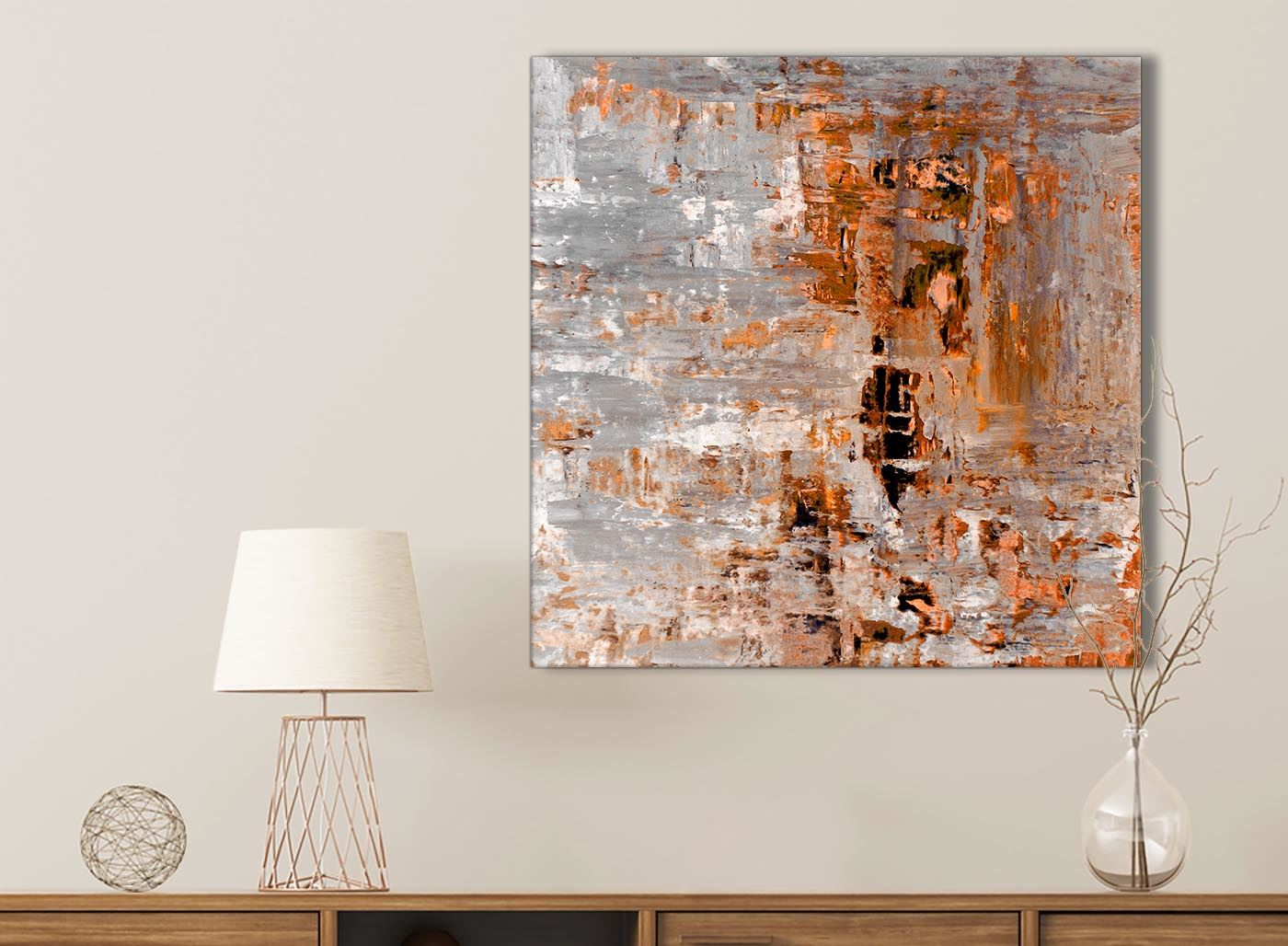 49cm Abstract 1s390s Burnt Orange Grey Painting Kitchen Canvas Accessories