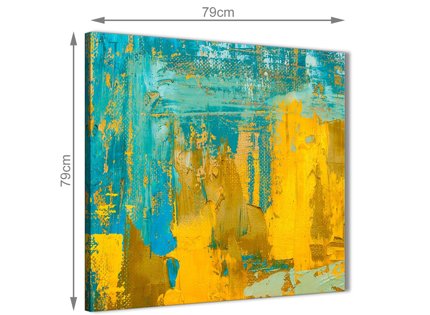 Mustard Yellow and Teal Turquoise Abstract Dining Room Canvas Wall Art Decor