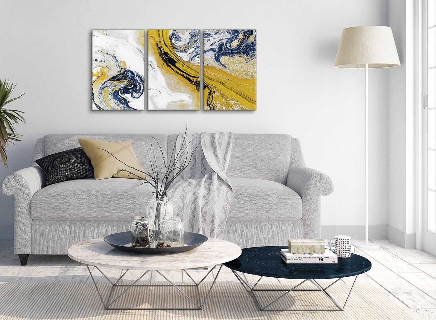 Details About Mustard Yellow And Blue Swirl Living Room Canvas Pictures Abstract Print