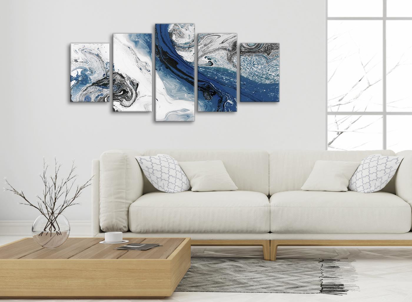 Navy Blue and Grey Swirl Living Room Canvas Wall Art ...